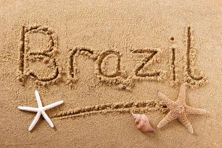 Brazil beach word travel writing concept