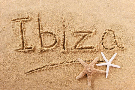 Ibiza Spain beach word travel writing concept
