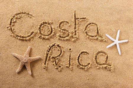 Costa Rica beach word travel writing concept