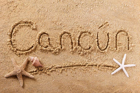 Cancun Mexico beach word travel writing concept Standard-Bild