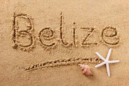 Belize beach word summer travel writing concept