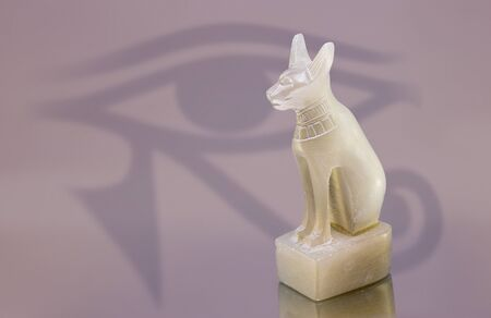 ancient egyptian cat statue made of alabaster