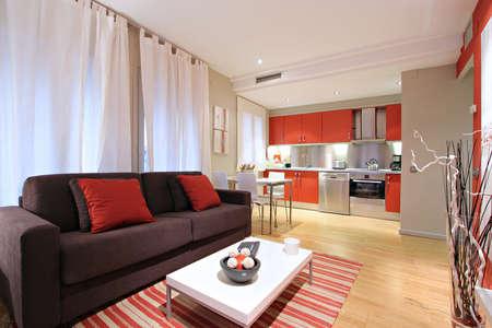 Ramblas-Boqueria Apartment - Salon-diner2 Stock Photo