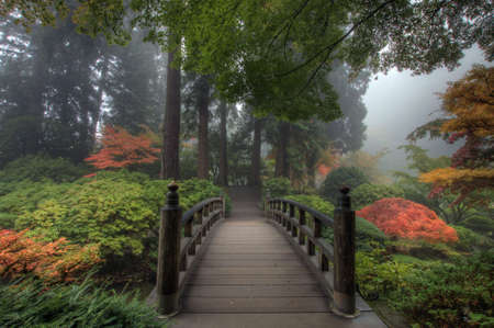The Bridge in Portland Japanese Garden in the Fall Stock Photo