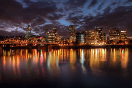 Portland Downtown Skyline at Night from Eastbank Esplanade