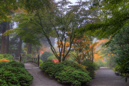 Paths at Portland Japanese Garden in the Fall Stock Photo