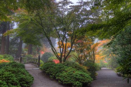 ponte giapponese: Percorsi a Portland giardino giapponese in autunno  Archivio Fotografico