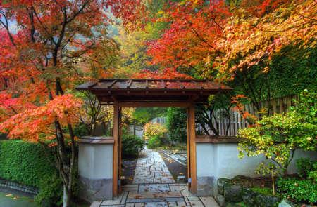 가을 포틀랜드 일본 정원 입구 스톡 콘텐츠