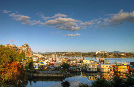 Houseboats on the Inner Harbour in Victoria British Columbia 版權商用圖片