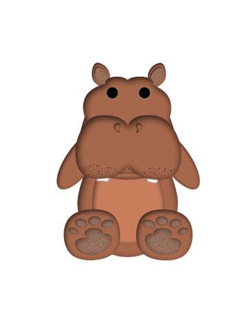 Hippopotamus Illustration for Childrens Book or Greeting Cards Zdjęcie Seryjne
