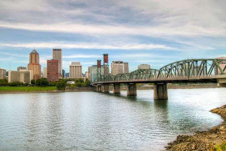 willamette: Portland Downtown Skyline by Willamette River