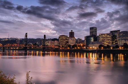 eastbank: Portland Downtown Skyline at Dusk by Willamette River