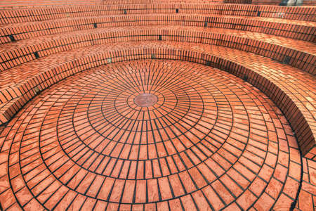 pavers: Circular brickwork in Pioneer Courthouse Square Portland Oregon