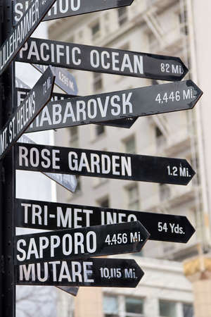 Signs pointing is all directions from downtown
