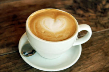 Cup of Foamy Cappuccino Latte Espresso Coffee Beverage Drink Stock Photo