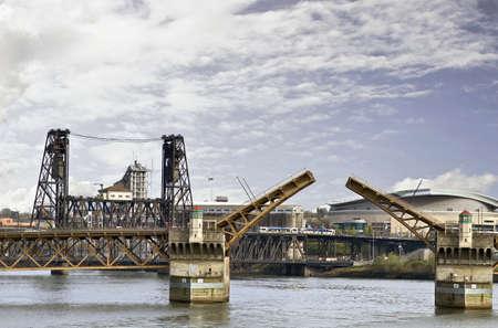 willamette: City Bridges over Willamette River Portland Oregon Stock Photo