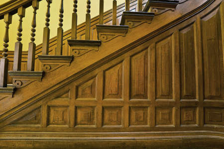Foyer: Wood Carved Stairs in Old House Details