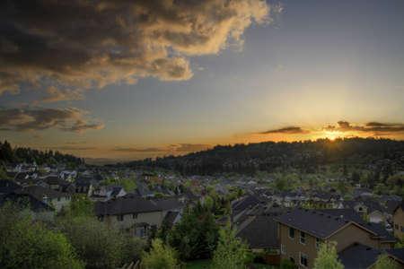 suburban: Sunset at the Suburbs of Happy Valley Oregon 2 Stock Photo