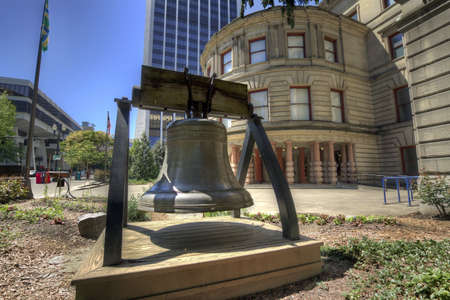 Liberty Bell at City Hall Portland Oregon Stock Photo