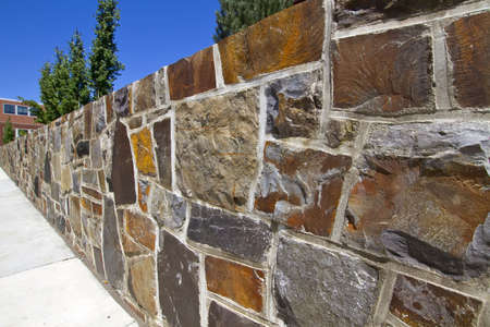 Granite Stone Retaining Wall for Garden Landscape Stock Photo