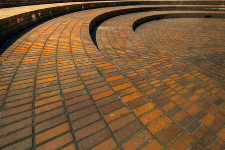 paredes de ladrillos: Enladrillado de plaza p�blica en el centro de la ciudad de Portland Oregon