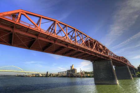 willamette: Broadway Bridge Over Willamette River in Portland Oregon Stock Photo