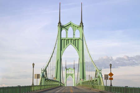 St. Johns Bridge over Willamette River in Portland Oregon
