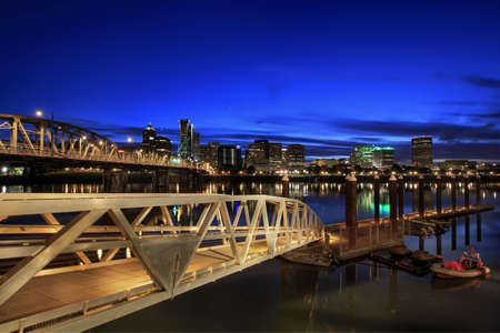 eastbank: Portland Downtown Skyline on the Willamette River at Blue Hour Stock Photo
