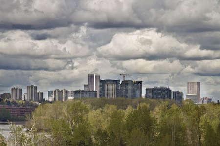 Portland Downtown City Skyline from Oaks Bottom Wildlife Refuge Reklamní fotografie