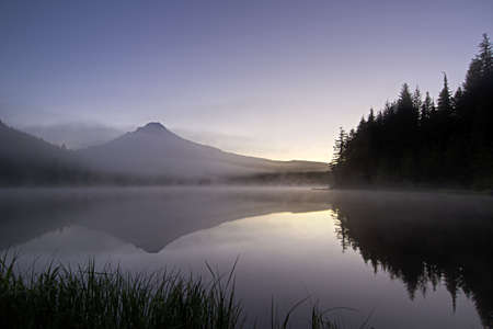 Sunrise Morning Fog at Trillium Lake and Mount Hood