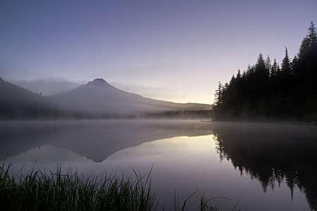 trillium: Sunrise Morning Fog at Trillium Lake and Mount Hood