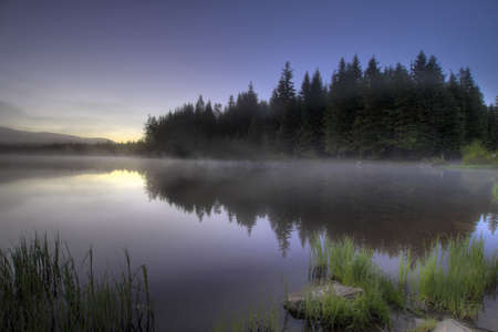 Sunrise Morning Fog at Trillium Lake with Reflection