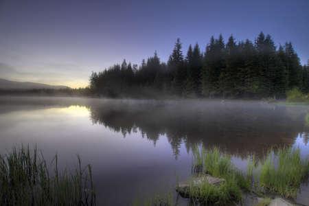 trillium lake: Sunrise Morning Fog at Trillium Lake with Reflection