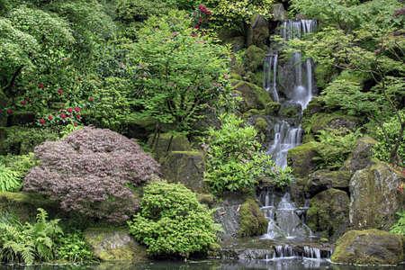 Cascading Waterfall at Portland Japanese Garden Oregon Stock Photo - 7197291