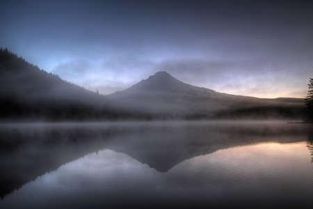 trillium lake: First Light at Trillium Lake on Mount Hood Oregon Stock Photo