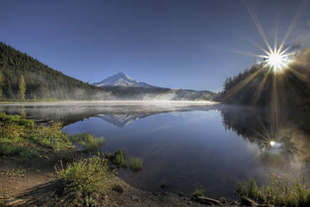 trillium lake: Sunrise over Trillium Lake and Mount Hood Oregon