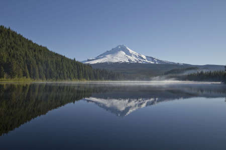 Mount Hood with clear blue sky reflection on Trillium Lake Oregon Stock Photo - 7197306