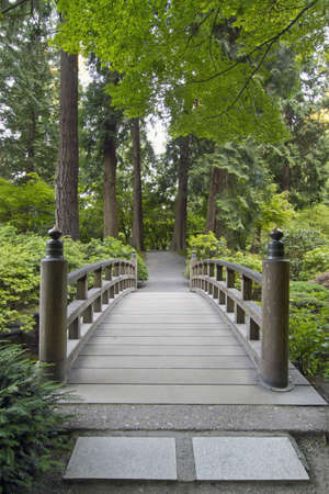 Wood Bridge over Creek at Portland Japanese Garden Stock Photo - 7375078