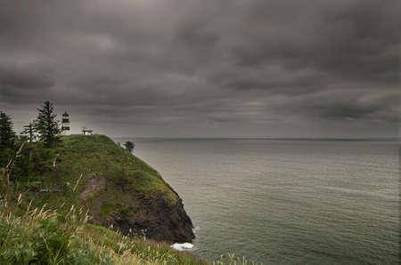 decepci�n: Faro de cabo decepci�n en Washington Ilwaco por el r�o Columbia 2  Foto de archivo