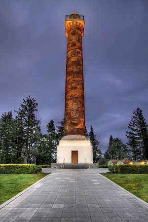 coxcomb: Historic Astoria Column in Coxcomb Hill Oregon at Blue Hour Stock Photo