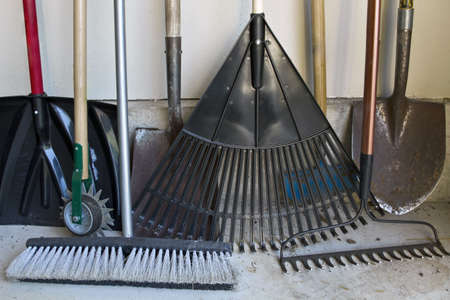 Various Gardening Tools in Garden Tool Shed Stock Photo