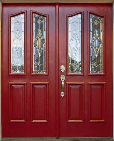 beveled: Red Door with cut beveled glass art panel