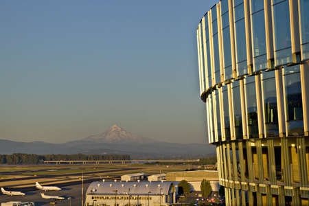 Portland International Airport with view of Mount Hood photo