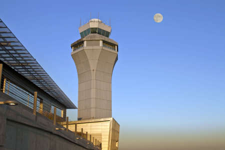 air traffic: Air Traffic Control Tower at Portland International Airport Stock Photo