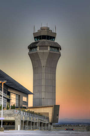 air traffic: Portland International Airport Air Traffic Control Tower at Sunset
