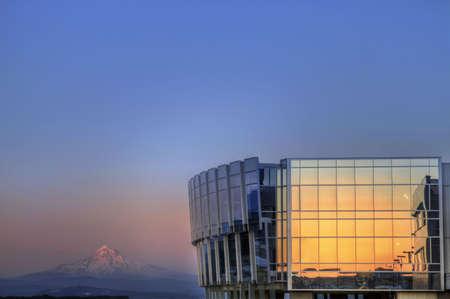 mount hood: Sunset on Portland International Airport and Mount Hood Stock Photo