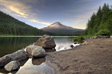 trillium: Mount Hood by Trillium Lake at Sunset in Oregon 3