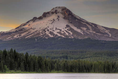 trillium: Mount Hood by Trillium Lake at Sunset in Oregon