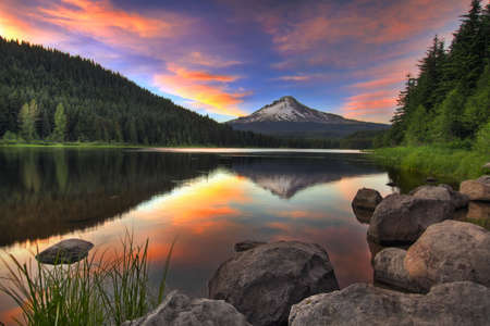 with reflection: Sunset at Trillium Lake with Mount Hood in Oregon