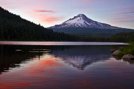 Mount Hood by Trillium Lake at Sunset in Oregon 4 Stock Photo - 7461912